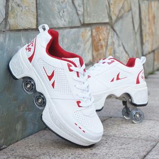 抖音多功能暴走鞋变形鞋四轮隐形带轮子的轱辘鞋溜冰轮滑鞋学生女