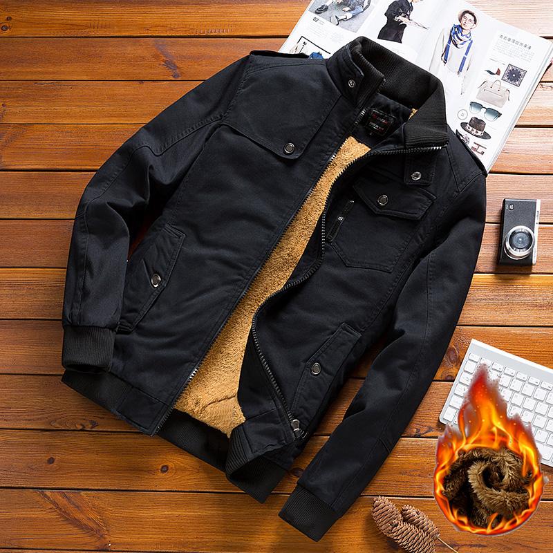 男士外套加绒加厚春秋冬季2020新款工装夹克薄款休闲牛仔纯棉衣服图片
