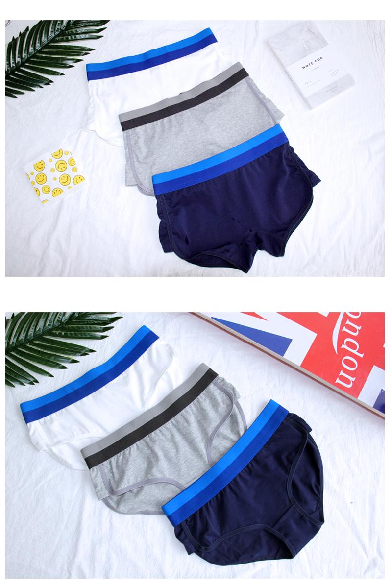 【自制运动】满2条包邮纯色纽扣LES帅T女款内裤内裤纯棉四角平