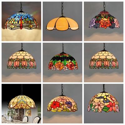欧式复古蒂凡尼彩色玻璃餐厅吊灯