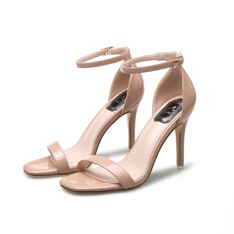 2021 new square head open toe one line buckle thin heel sandals womens summer patent leather nude medium high heels silver womens shoes