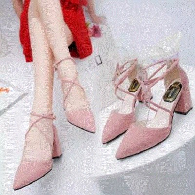 Summer new style womens thick heel suede cross strap sandals high heeled shoes pointed versatile single shoes medium heel Baotou womens shoes