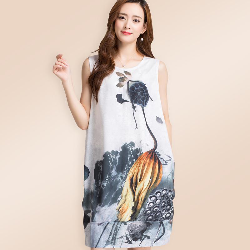 2017 summer Korean New Womens suspender Vest Medium length large loose print linen cotton linen dress