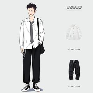 白色夏装男短袖宽松休闲dk制服男装一套衬衫帅气套装工装衬衣搭配