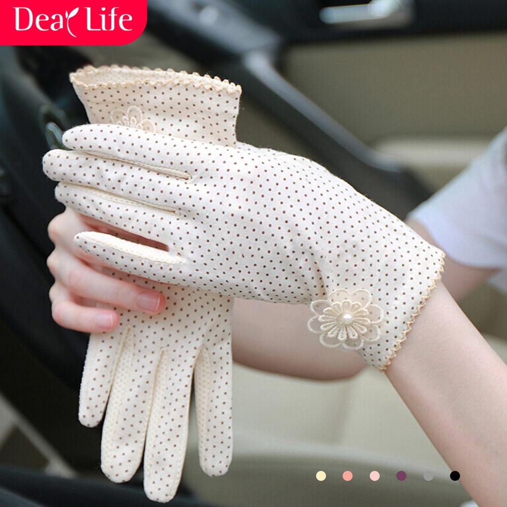 开车防晒手套防紫外线女士薄款春季骑行遮阳防滑纯棉短款女式手套