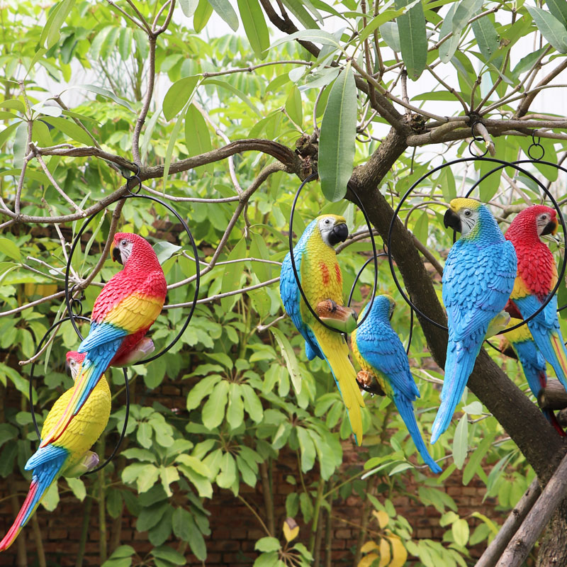 Outdoor simulation bird, parrot resin sculpture garden area, balcony, tree hanging ring decoration, home furnishings