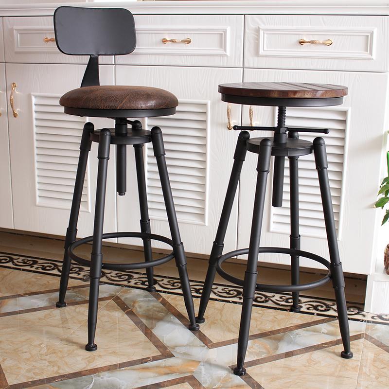 吧台椅酒吧椅子旋转升降椅实木高脚凳子铁艺靠背家用吧凳现代简约