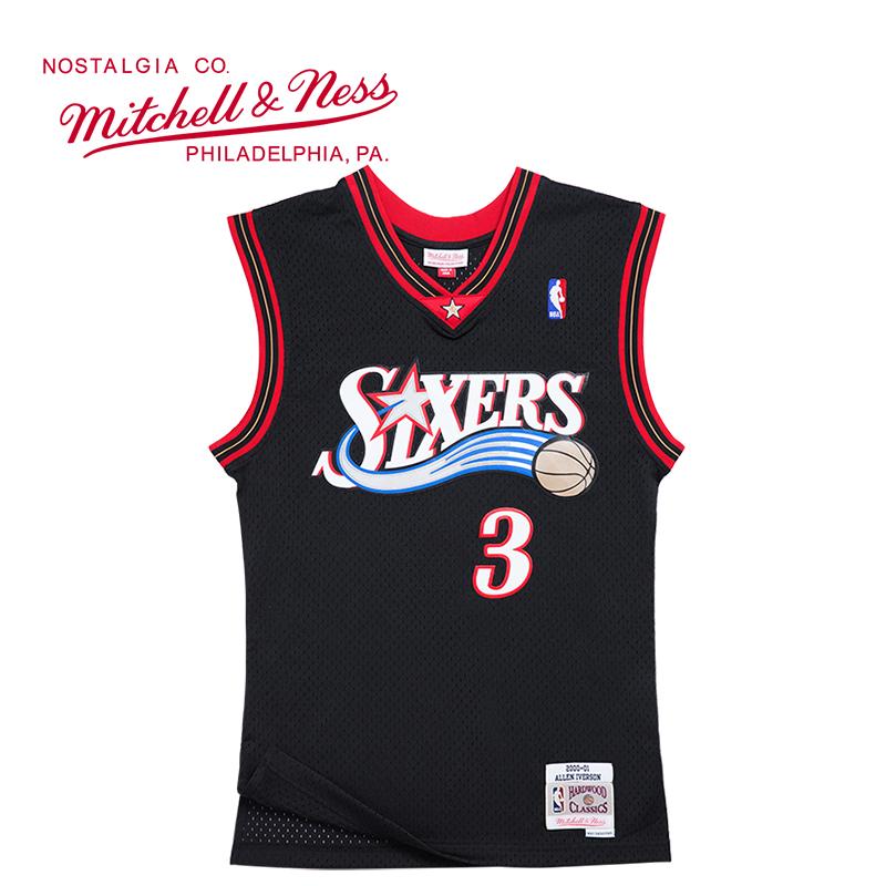 Mitchell Ness复古球衣SW球迷版NBA球衣 76人队艾弗森MN透气刺绣