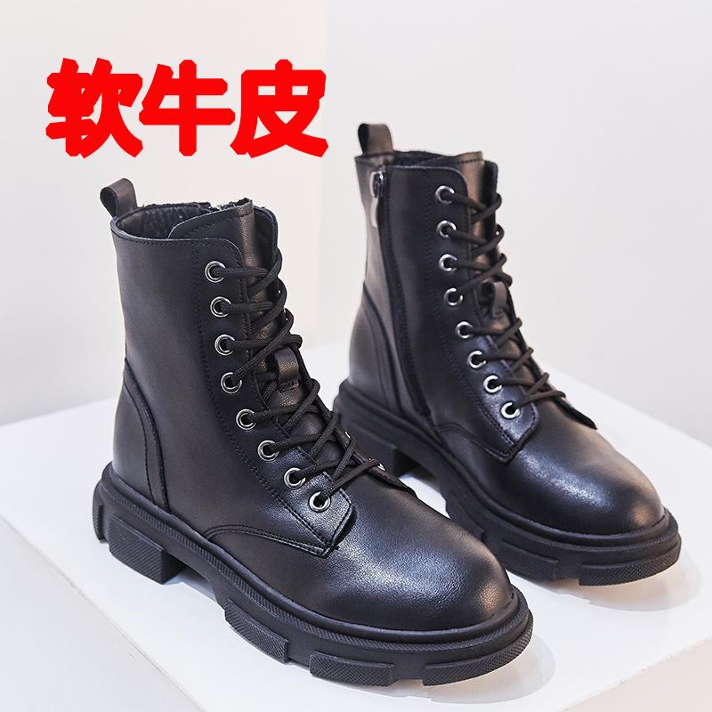软牛皮马丁靴女2020春季透气新款英伦风侧拉链增高帅气短靴子女靴图片