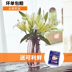 云南昆明批發鮮花香水百合花束辦公室插花速遞玫瑰康乃馨家庭鮮花