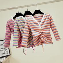 高腰紧身抽绳修身 v领露脐上衣短款 针织t恤女七分袖 彩虹条纹秋长袖