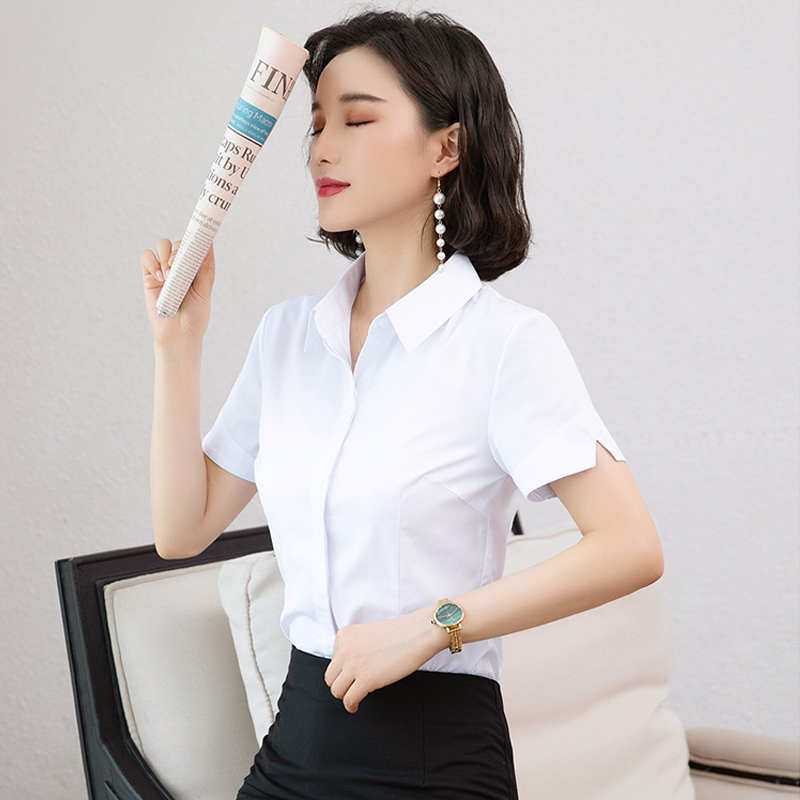 Professional white shirt womens short sleeve 2020 new summer business shirt half sleeve slim fitting work clothes white shirt cotton