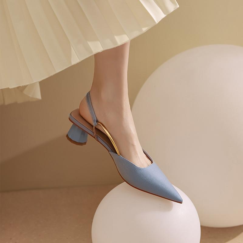法式绸缎气质低跟包头凉鞋春夏女鞋