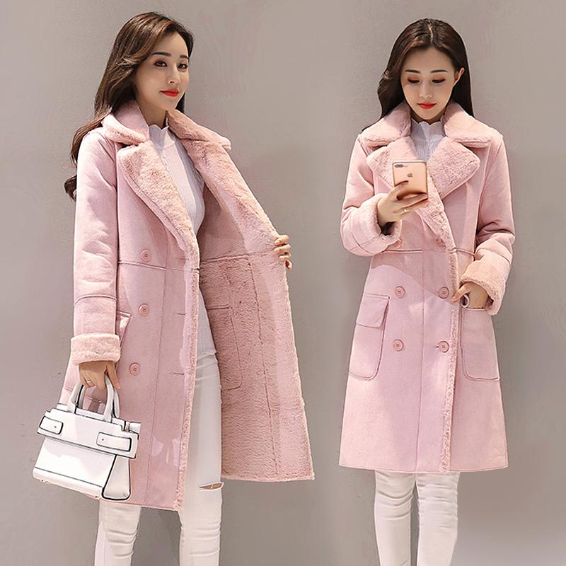 婦人服の新型の韓国版セーム革の毛の绒のコートの女性の中で長いモデルの秋冬は保温して厚い加絨のオーバーのコートの风衣の潮流をプラスします。