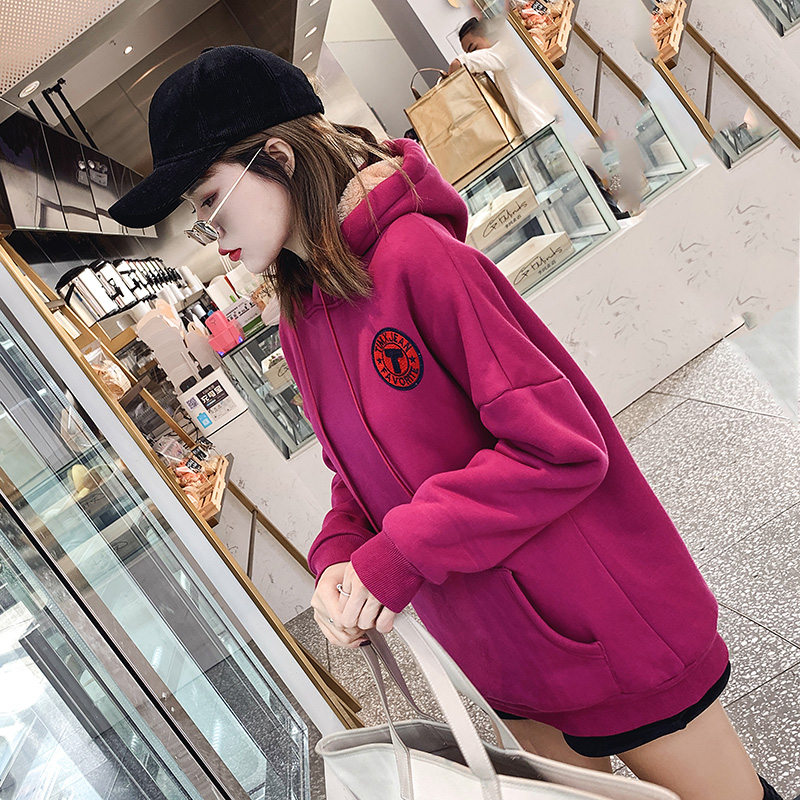 Plush and thickened CEC sweater Pullover womens Hoodie loose medium length 2021 new winter Korean lamb cashmere coat