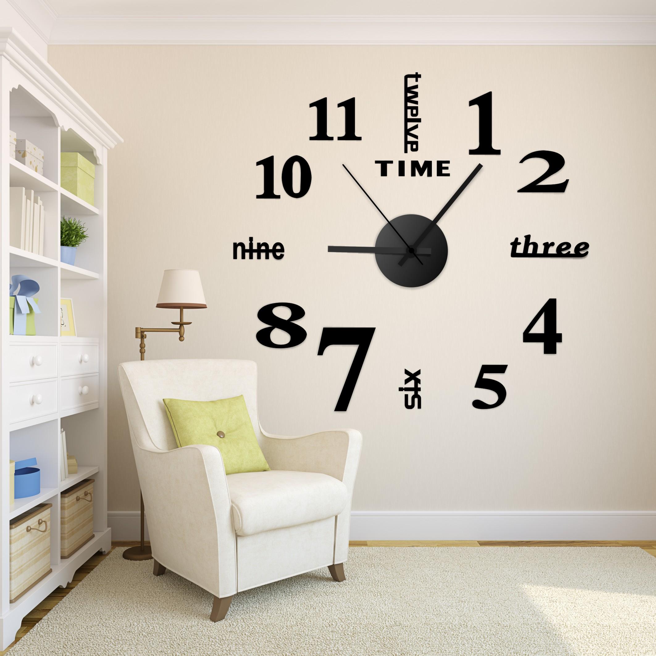 时钟扫秒钟表客厅家用欧式壁钟电子钟 圆形艺术diy挂钟墙贴钟静音