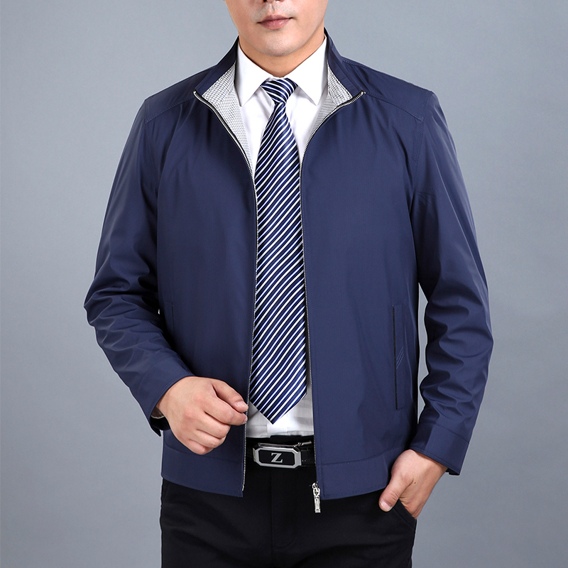 New mid aged and old mens spring and autumn jacket light and thin top loose fathers business and leisure coat