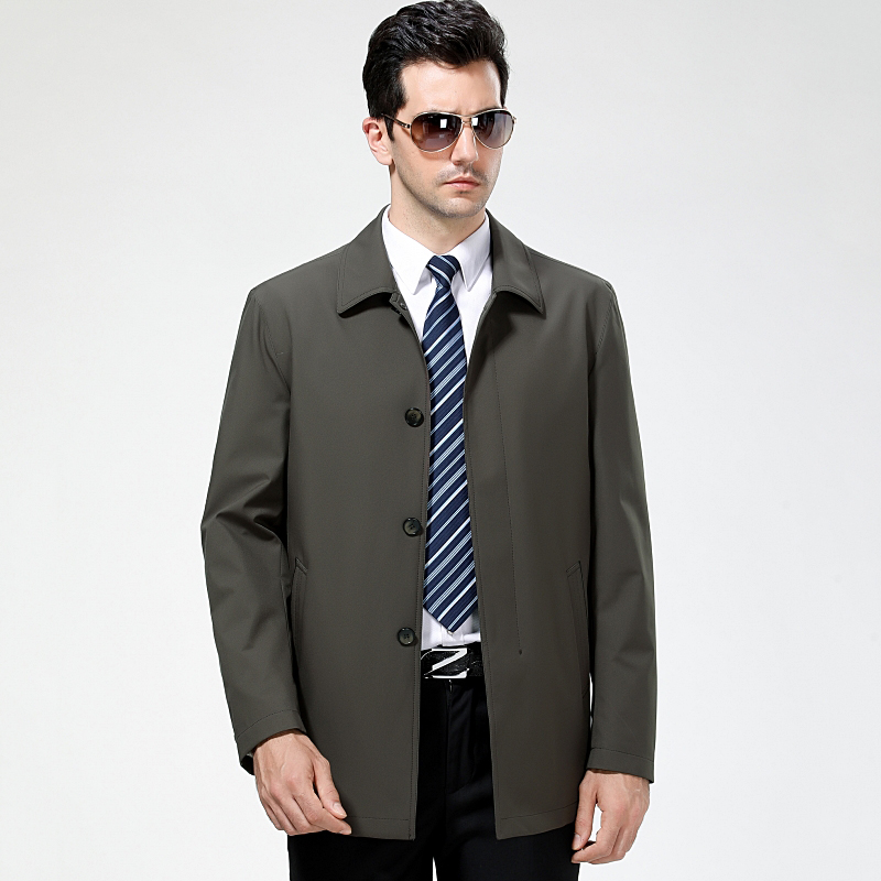 Middle aged and old mens Lapel business casual jacket loose button medium length jacket with fashionable Dad