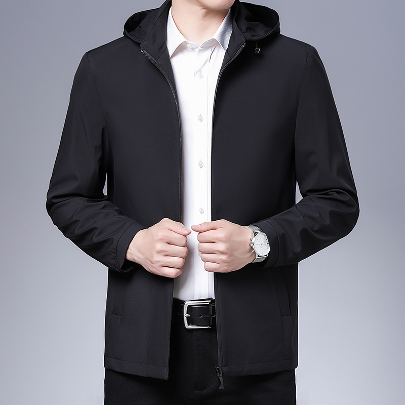 Mens Hooded Jacket middle-aged and old dads jacket detachable hat business leisure loose mature light