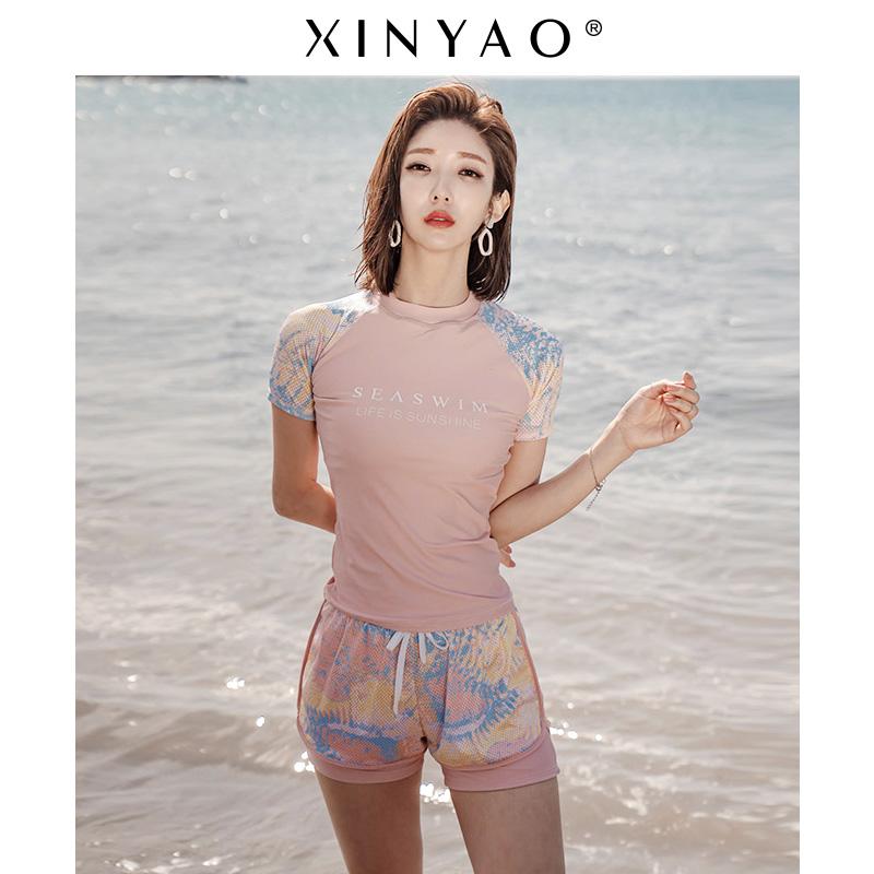 短袖泳衣女分体保守运动平角裤韩国显瘦遮肚ins风温泉泳装上衣热销3件限时2件3折