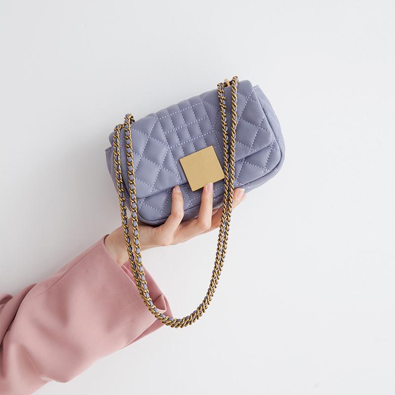 夏天小包包2020新款时尚紫色单肩真皮女包小香风菱格链条包女斜挎图片
