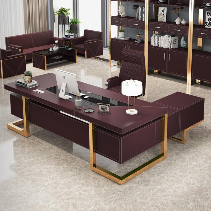 木森轻奢老板桌总裁桌经理主管桌简约现代大班台高端办公桌椅组合