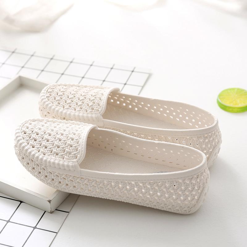 夏季女款洞洞镂空女鞋塑料白色凉鞋防...