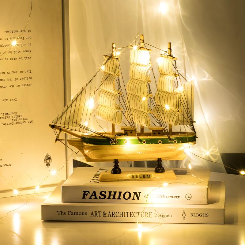 一帆风顺帆船地中海风格装饰品摆件创意船模型工艺品海盗船小木船