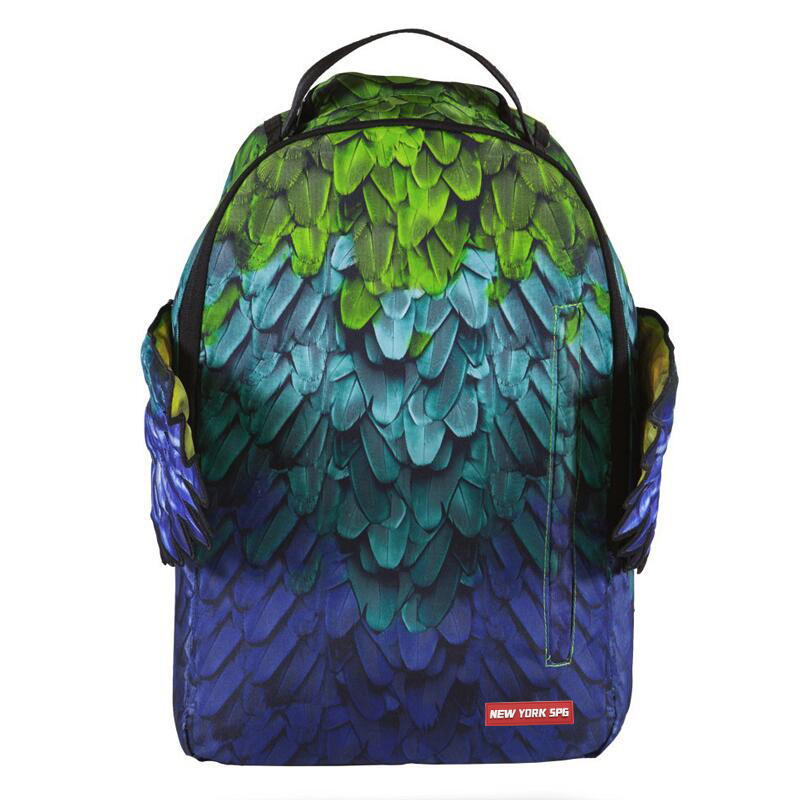 American fashion brand genuine paradise wing backpack high school student schoolbag Green Feather Wing Backpack Travel Bag