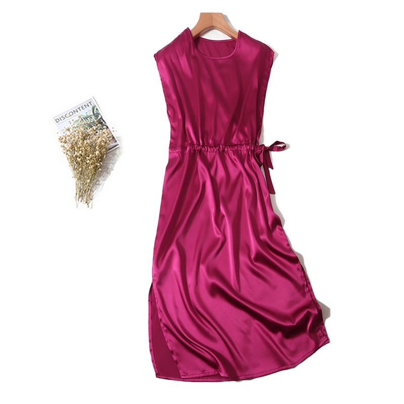 丝滑绸缎玫红色欧美风真丝连衣裙连肩袖长裙桑蚕丝蝴蝶结开叉裙券后149.00元