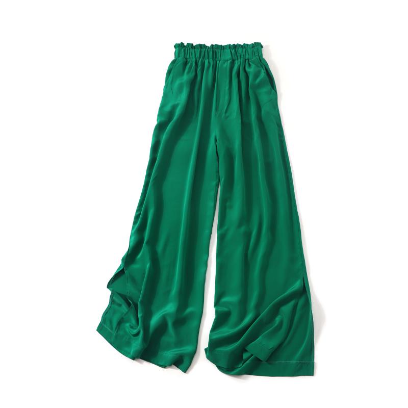 纯色款 真丝阔腿裤花边口袋开叉长裤100桑蚕丝夏女装休闲大码裙裤