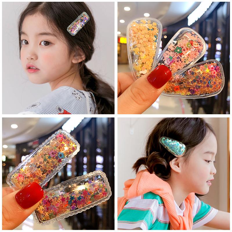 韩国新款彩色流沙透明儿童发夹边夹宝宝发卡头饰女童刘海夹碎发卡