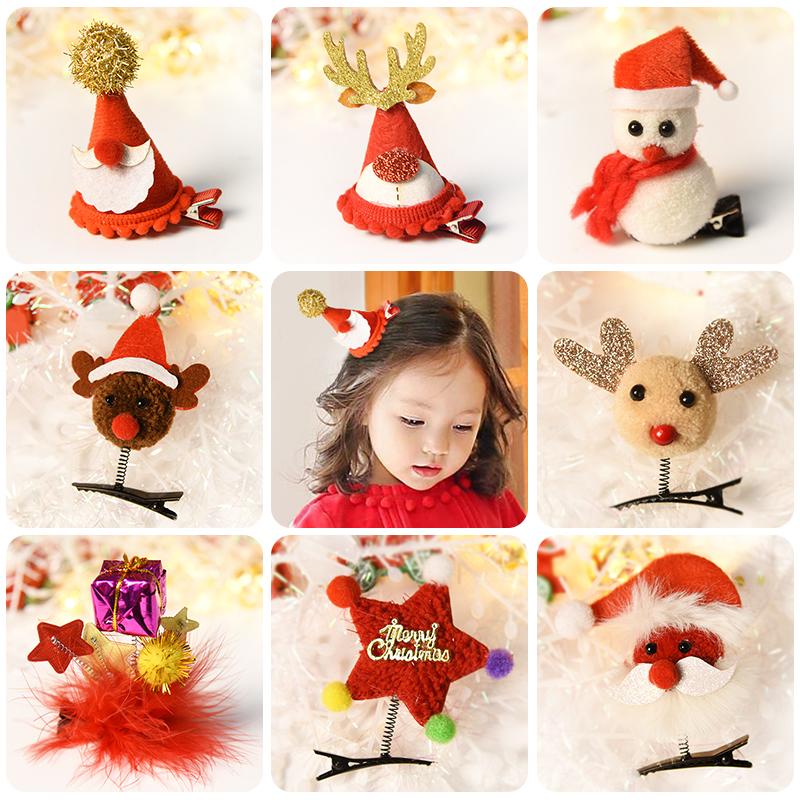 儿童圣诞发夹宝宝不伤发小夹子头饰女童圣诞节发饰边夹刘海夹饰品