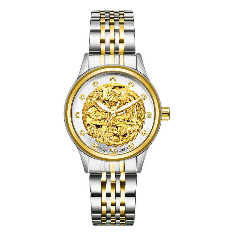 Tevise tewis boutique fashion trend Phoenix automatic mechanical watch womens watch waterproof steel band Watch