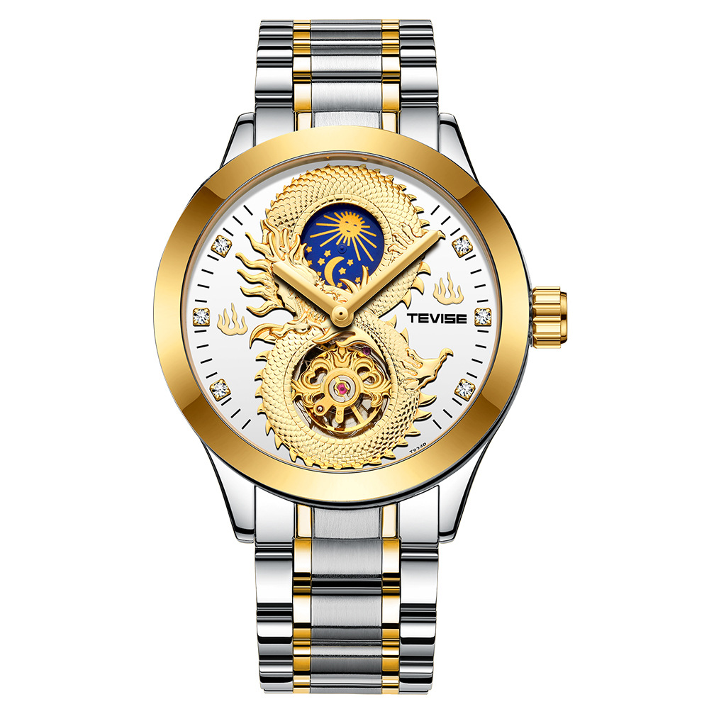 Tevise tewis boutique Tourbillon mens mechanical watch fashion hollow relief dragon waterproof steel band Watch