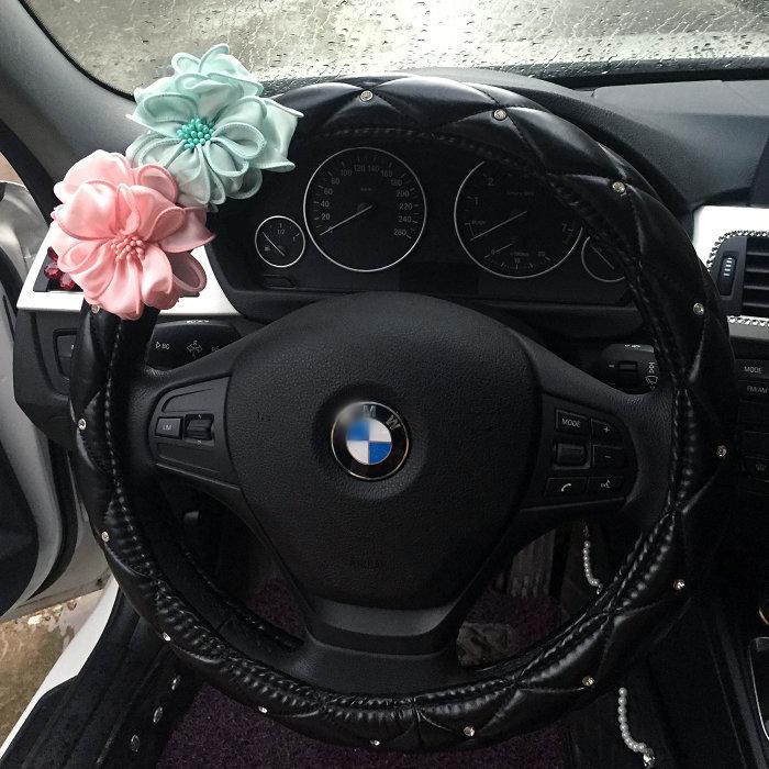 四季 鑽石把套女汽車用品性感薔薇花水鑽鑲鑽 車用方向盤套