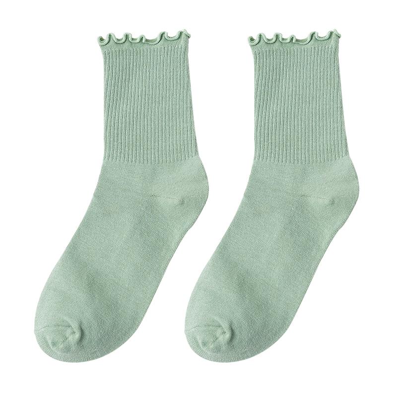 木耳边袜子女花边中筒袜长袜薄款jk荷叶韩国日系女秋冬白色堆堆袜