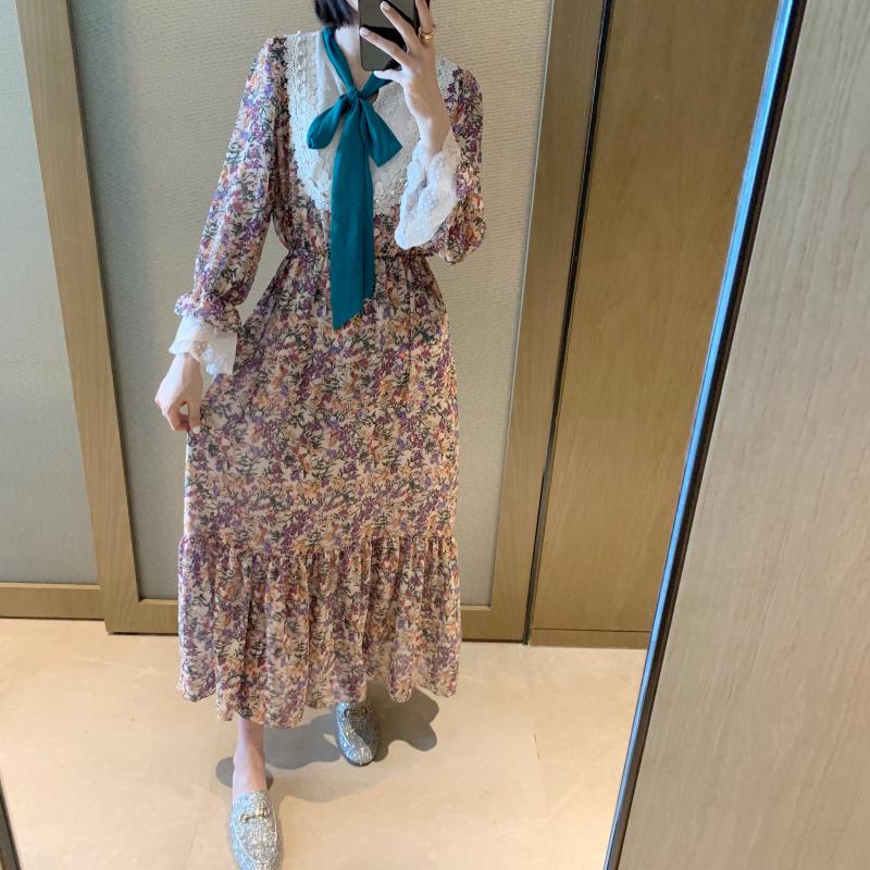 ◆张静芝韩国东大门 超仙女蕾丝绿领系带粉碎花长款荷叶边连衣裙限5000张券