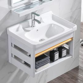 陶瓷洗手盆浴室柜组合小户型挂墙式洗脸盆阳台支架洗漱台吊柜面盆图片