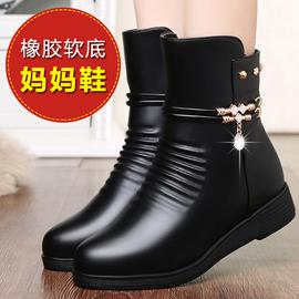 妈妈鞋棉鞋秋冬季中年真皮软底短靴女平底女鞋加绒靴子中老年皮鞋