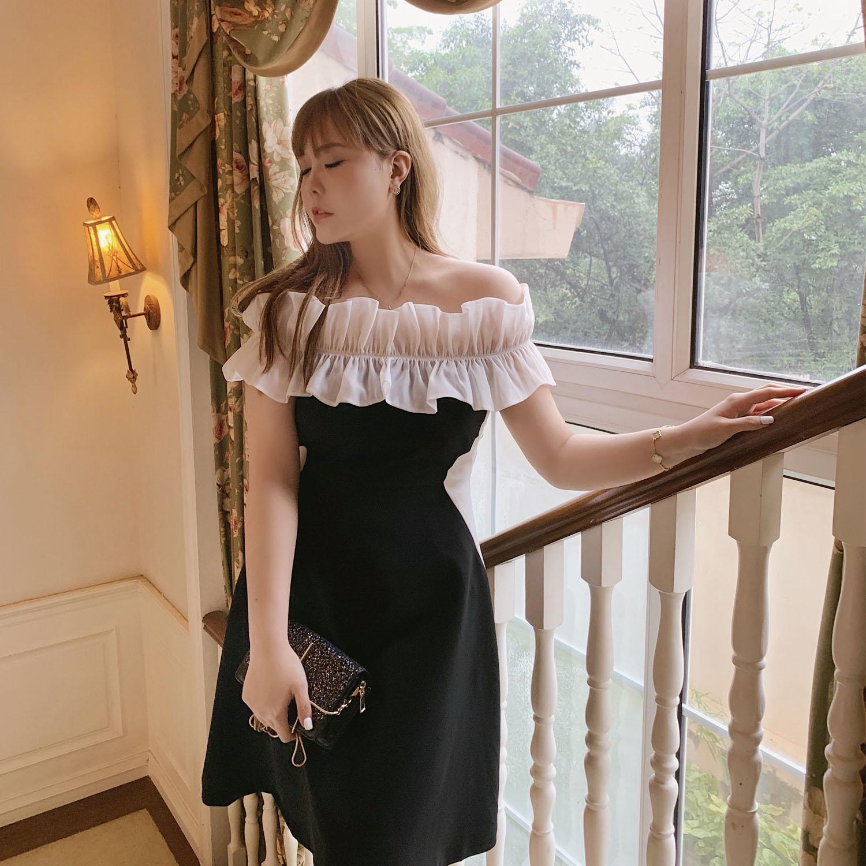 MB大码女装 明星柳岩娄艺潇同款 气质显瘦款一字肩花边显瘦连衣裙图片