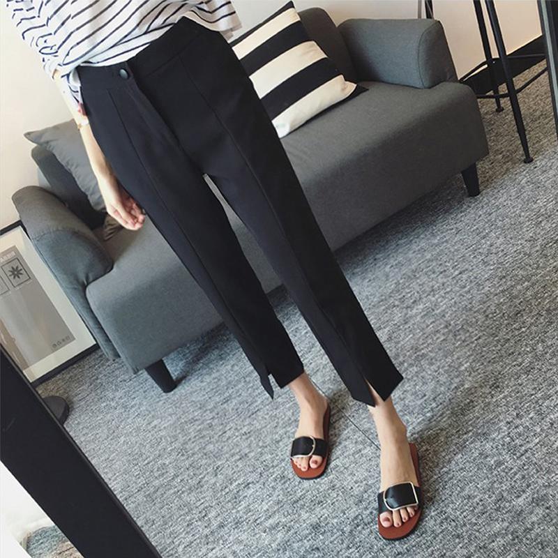 西装裤女直筒宽松显瘦工装裤子夏季薄款小脚开叉高腰九分休闲西裤