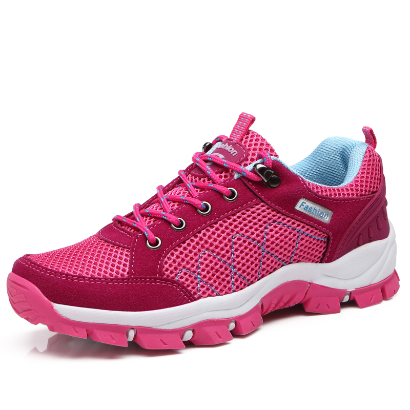 Outdoor Hiking Shoes Women Comfortable Pink Purple Sports