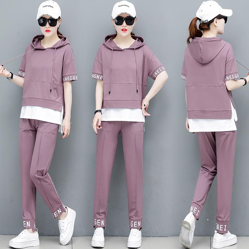 实拍运动服套装女夏季2019韩版宽松短袖长裤时尚休闲女士两件套潮