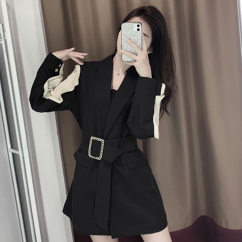 2020新款春秋季連衣裙赫本風心機小黑裙短款氣質女神范衣服西裝裙