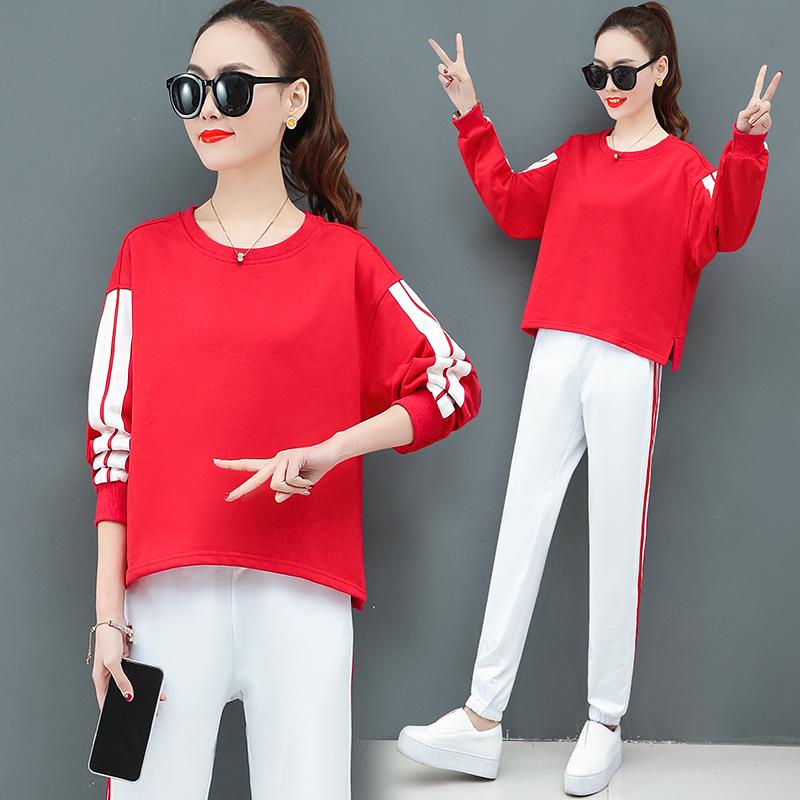 長袖運動新年紅套裝女2020春裝新款時尚洋氣小香風休閑兩件套春秋