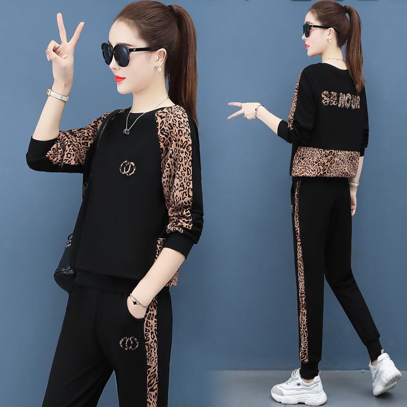 时尚豹纹休闲套装女2020春新款网红抖音减龄洋气小个子显高两件套