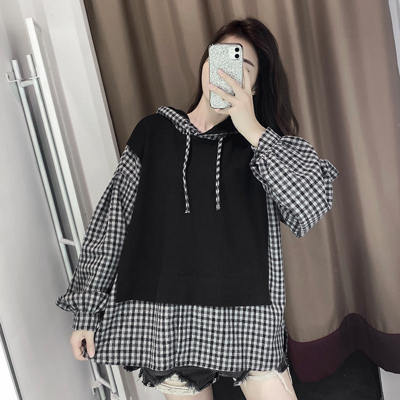 連帽衛衣女2020春季新款韓版復古港味拼格子假兩件長袖上衣百搭潮