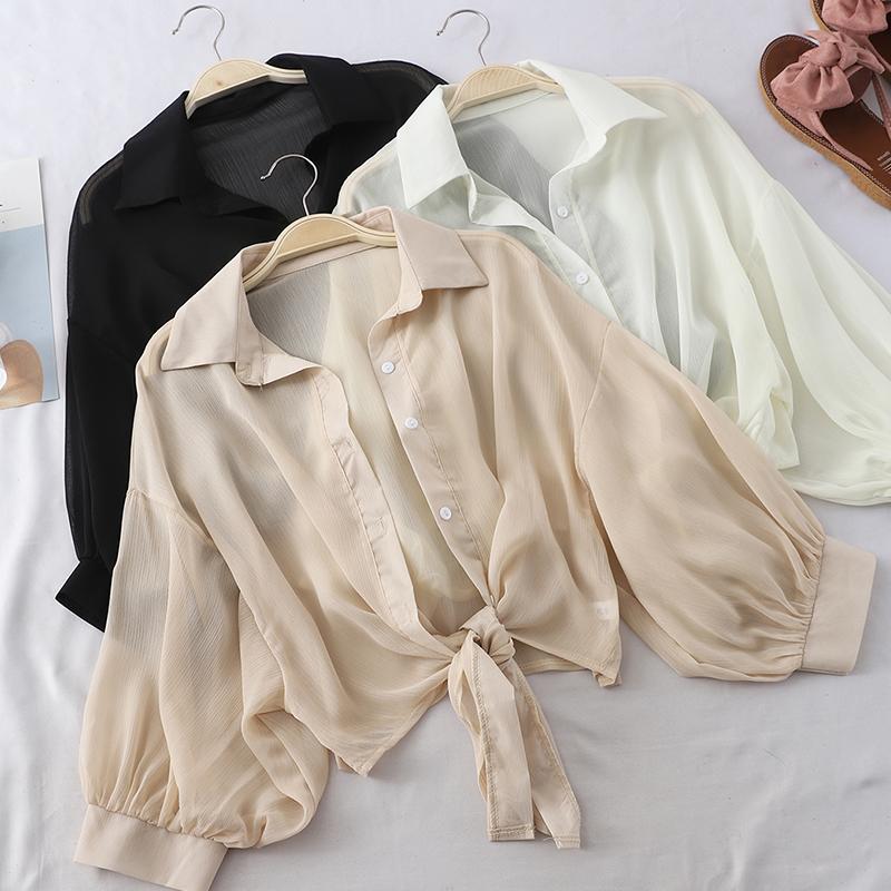 短款防晒衬衫夏季薄款披肩女外搭雪纺开衫搭配吊带的小外套配裙子