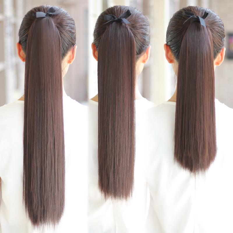 日本と韓国のカツラの長いストレートヘアーは、非常に高温の髪のポニーテール、自然と本物のポニーテールです。